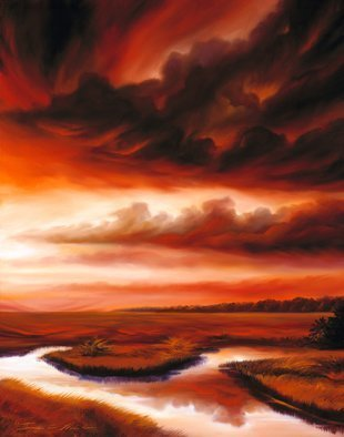 James Hill: 'Black Fire', 2007 Oil Painting, Sky. Artist Description:            Original Oil Painting, Sunrise, Sunset, Ocean, Sky, Shoreline, Shore, Sea, Water, River, Clouds, Cloudscapes, morning, evening, red, yellow, orange, blue, green, light, power, God, Love, Energy           ...