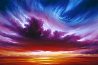 James Hill: 'In the Beginning', 2007 Oil Painting, Sky. Artist Description:          Original Oil Painting, Sunrise, Sunset, Ocean, Sky, Shoreline, Shore, Sea, Water, River, Clouds, Cloudscapes, morning, evening, red, yellow, orange, blue, green, light, power, God, Love, Energy         ...