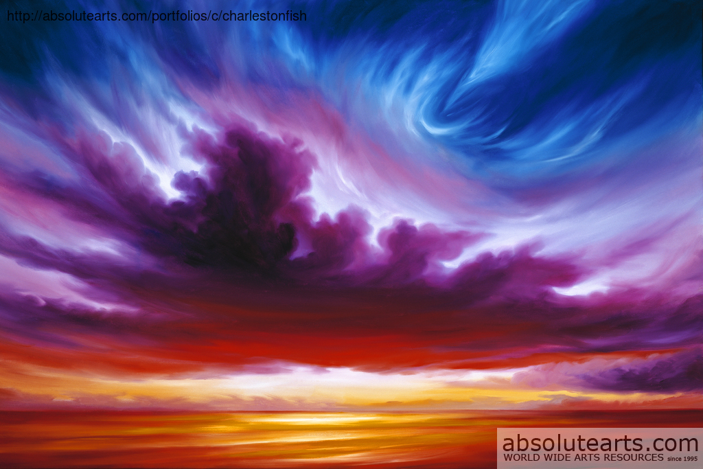 James Christopher Hill Artwork: In the Beginning | Original Painting Oil | Sky Art