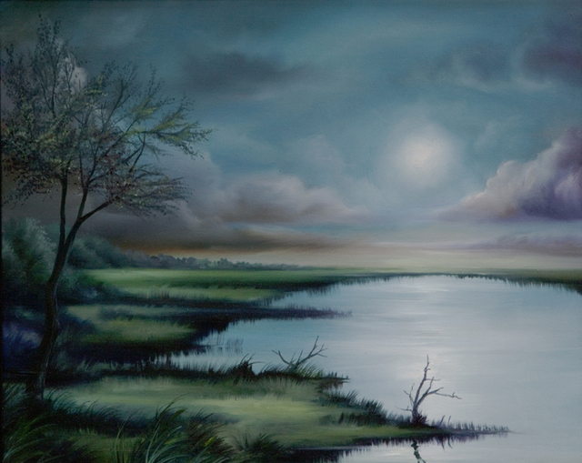 James Hill  'Moon Over Wadmalaw Marsh', created in 2009, Original Painting Acrylic.