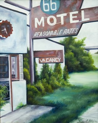 James Hill: 'Route 66 Motel', 2005 Oil Painting, Landscape.  A painting of the famous Route 66 Motel, now gone. ...
