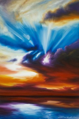 James Hill: 'Skryrise', 2012 Oil Painting, Sky. Artist Description:       Original Oil Painting, Sunrise, Sunset, Ocean, Sky, Shoreline, Shore, Sea, Water, River, Clouds, Cloudscapes, morning, evening, red, yellow, orange, blue, green, light, power, God, Love, Energy      ...
