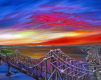 James Hill: 'The Cooper River Bridges  ', 2010 Acrylic Painting, Sky. Artist Description: Original Oil Painting, Sunrise, Sunset, Ocean, Sky, Shoreline, Shore, Sea, Water, River, Clouds, AcCloudscapes, morning, evening, red, yellow, orange, blue, green, light, power, God, Love, Energy ...