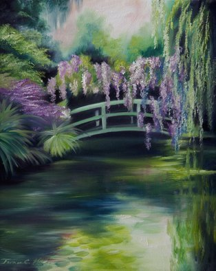 James Hill: 'Wysteria Bridge', 2009 Oil Painting, Landscape.  Wisteria hanging over a bridge on the water. ...
