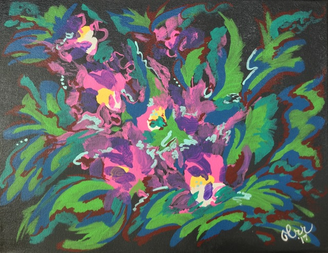 Charlotte  Reber  'Abstract Orchids', created in 2017, Original Painting Acrylic.