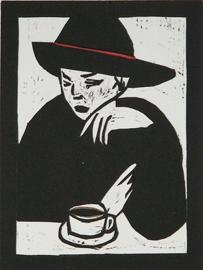 Chris Heisinger: 'Coffee Time', 2008 Woodcut, Undecided.  Hand printed - Hand ColoredEach print is unique ...