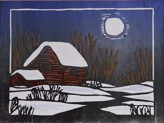 Chris Heisinger: 'Winter Moon  Blue', 2008 Woodcut, Undecided.  Hand printed - Hand ColoredEach print is unique ...