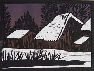 Chris Heisinger: 'Winter Night', 2008 Woodcut, Undecided.  Hand printed - Hand ColoredEach print is unique ...