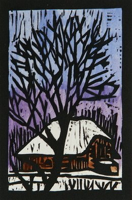 Chris Heisinger: 'Winter Tree', 2008 Woodcut, Undecided.  Hand printed - Hand ColoredEach print is unique ...