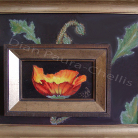 Dian Paura Chellis: 'Rebirth', 2012 Oil Painting, Floral. Artist Description:  flowers, poppy, frame within frame      ...