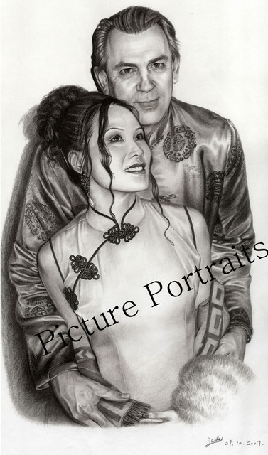 Artist Jade Zhang. 'Our Wedding Day' Artwork Image, Created in 2007, Original Drawing Charcoal. #art #artist