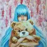 woman with teddy bear By Adi Djafar