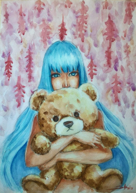 Adi Djafar  'Woman With Teddy Bear', created in 2017, Original Watercolor.