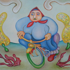 Woman on Bike By Jan Chlpka