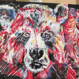 Chris Cooper: 'Bear Painting', 2012 Acrylic Painting, Portrait. Artist Description: Painting, on wood, ...