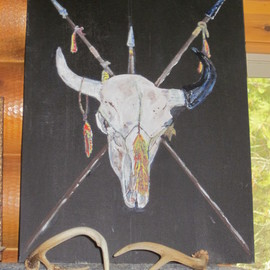 Chris Cooper Artwork Bison Skull, 2014 Acrylic Painting, Portrait