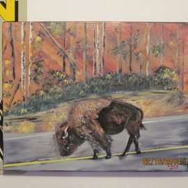 Chris Cooper Artwork Yellowstone Bison, 2014 Acrylic Painting, Animals