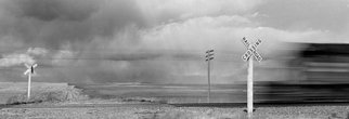 Chris Faust: 'BN Frieght Willston ND', 1990 Black and White Photograph, Landscape. Artist Description:       B& W Midwest landscape      ...