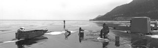 Chris Faust: 'Woman Ice Fishing ', 2004 Black and White Photograph, Landscape. Artist Description:        B& W Midwest landscape       ...