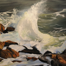 Christine Cousart: 'Majestic Ocean', 2010 Acrylic Painting, Seascape. Artist Description:  ocean smashing on rocks, seascape, ocean scene, rocks and ocean, sea and rocks, waves smashing on rocks, waves ...