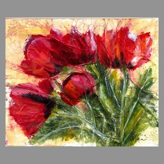 Chris Jehn: '5 red poppies', 2016 Collage, Floral. Artist Description: Red Poppies, high texture, rice paper on wrapped canvas using ink and acrylic paints. Sealed with UV varnish, does not need a frame. Original work by Chris Jehn...