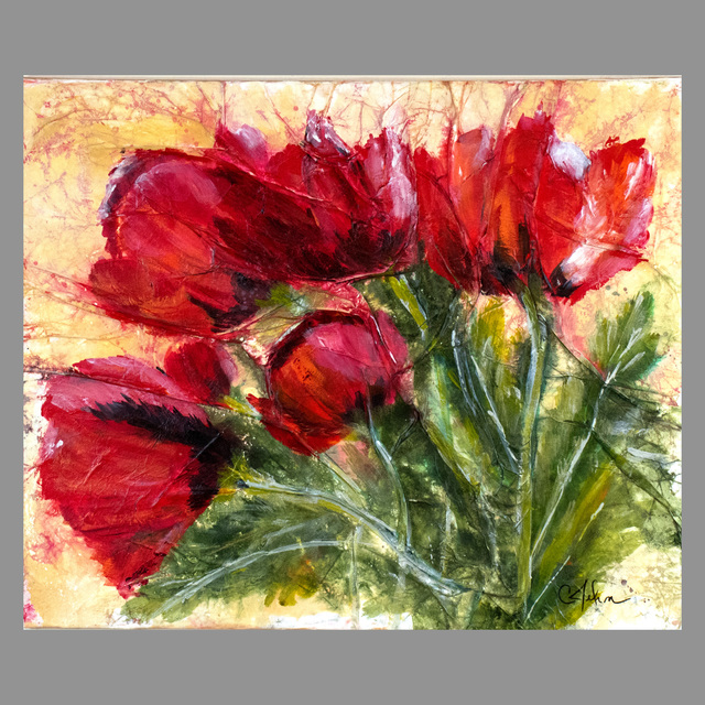 Chris Jehn  '5 Red Poppies', created in 2016, Original Mixed Media.