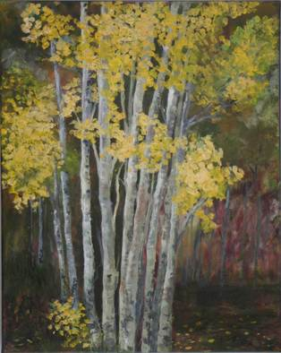 Trees Acrylic Painting by Chris Jehn Title: Aspen Grove X, created in 2008