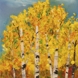 Chris Jehn Artwork Aspens with high clouds, 2015 Acrylic Painting, Trees