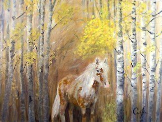 Chris Jehn: 'Misty', 2014 Acrylic Painting, Animals.  Misty - horse in aspen trees. The original photo was of an older horse. As I painted her she kept telling me that she was younger and prettier. Original Acrylic painting on wrapped canvas, can be hung as is or framed. Painted by Chris Jehn...