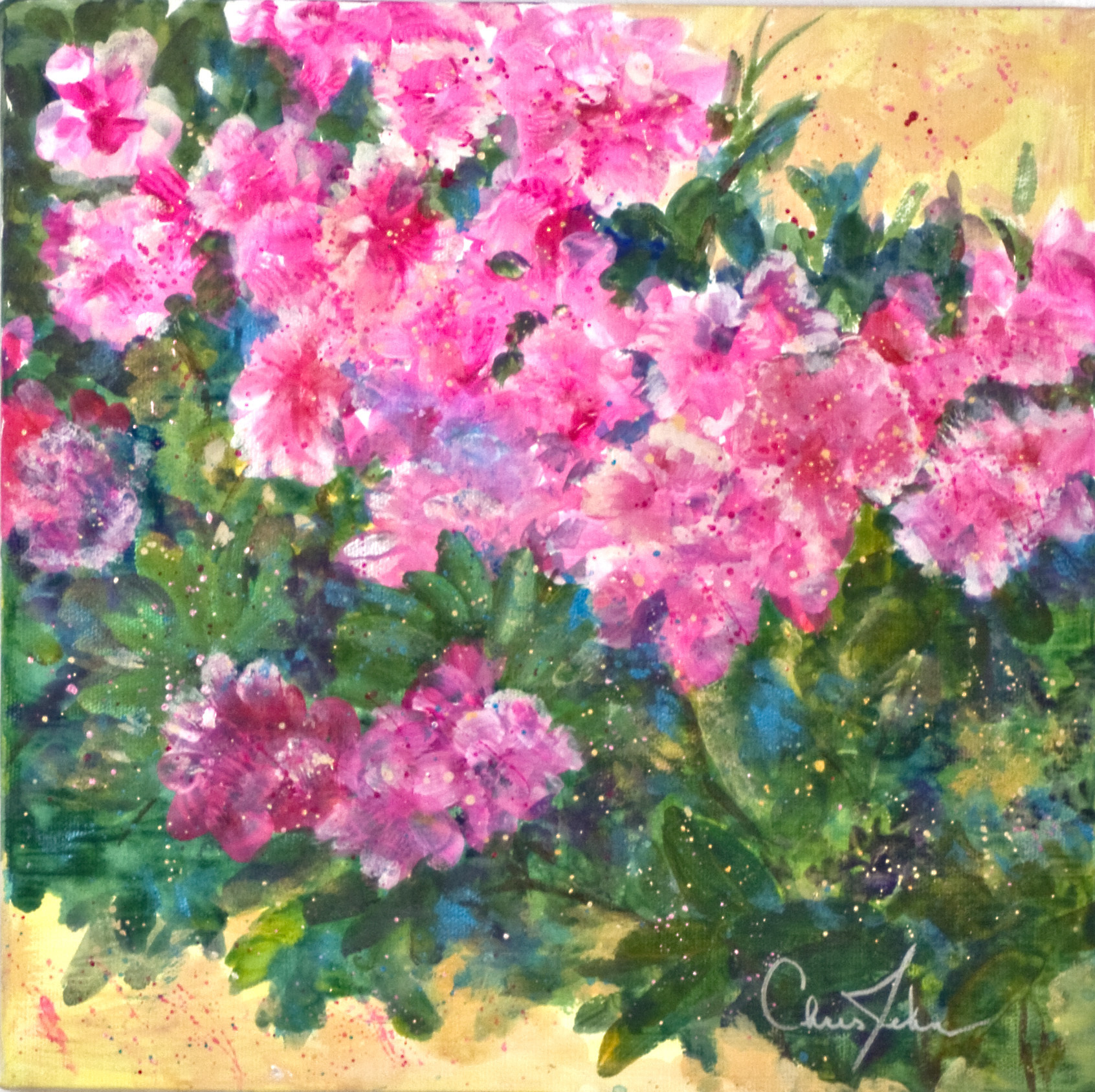 2ce7258b24f731 Pink Azalea Acrylic Painting By Chris Jehn