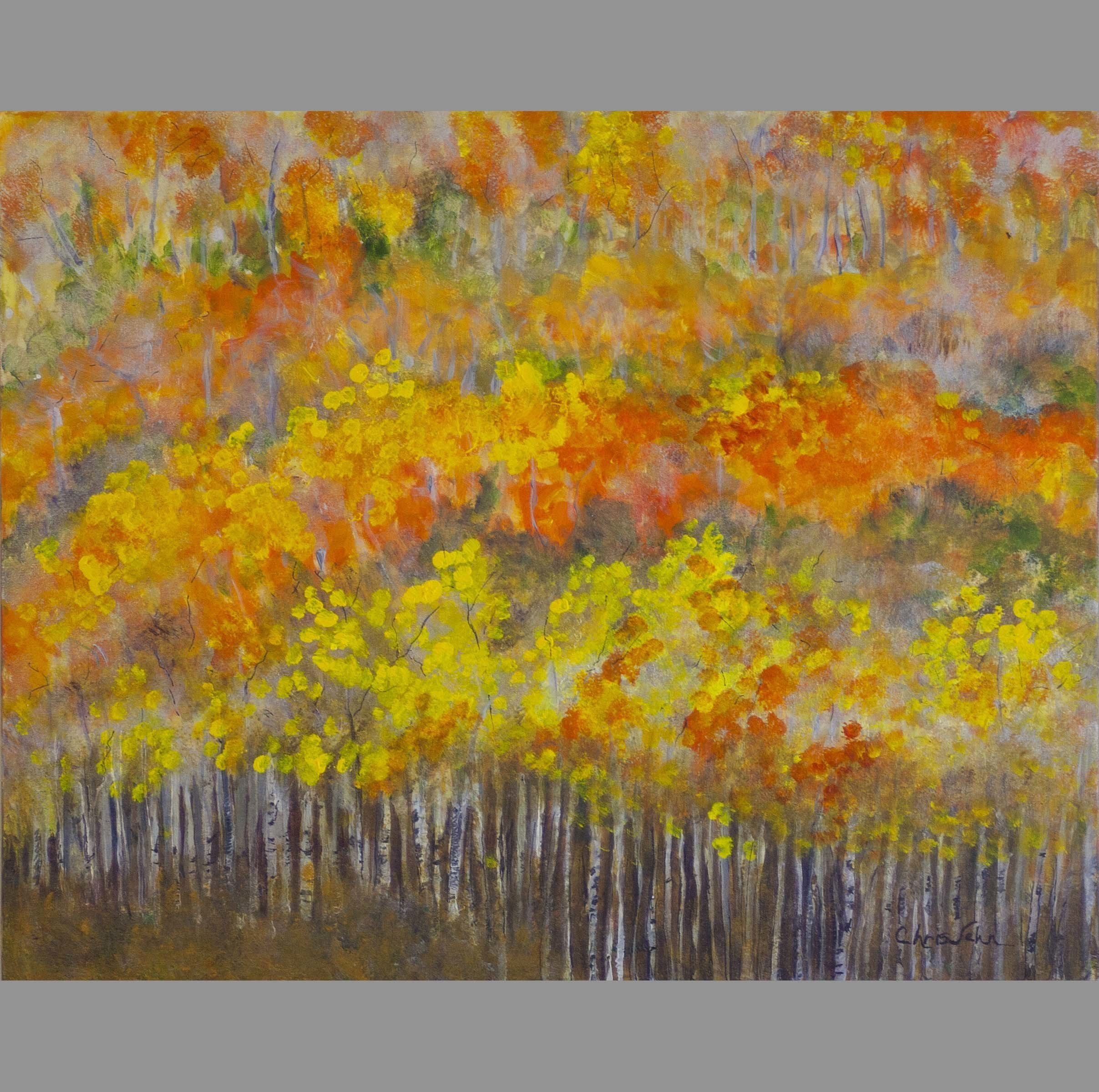 Chris Jehn: 'aspen mountain side', 2016 Acrylic Painting, Trees. In Colorado you often see panoramas of mountain sides with aspen trees. The colors and the layers are inspiring, and a challenge to paint. This is one of my favorite paintings. Original artwork by Chris Jehn...
