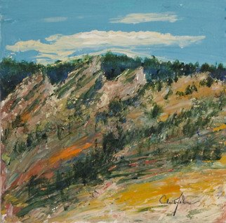 Chris Jehn: 'boulder flat irons', 2016 Acrylic Painting, Landscape. Boulder flat irons painting on canvas. Abstracted, framed. Bright, blue, orange, green. ...