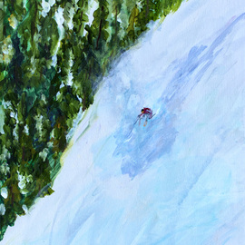 Chris Jehn: 'extreme ski', 2018 Acrylic Painting, Sports. Artist Description: Down hill skier, in back country. All alone. Used paint that contains mica so shines like sun reflecting off fresh snow. ...