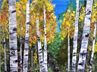 Chris Jehn: 'fall aspen with thunderbird', 2017 Mixed Media, Trees. Colorado fall aspen with thunderbird carving in trunk. Mixed media on board: ink, acrylic water color paper. bright blue and yellow ...