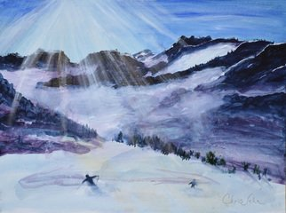 Chris Jehn: 'skiing canada', 2017 Acrylic Painting, Trees. Skiing in Canada. Sun streaming over the snow. Snow has reflective paint. ...