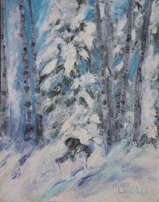 Chris Jehn: 'snow skier in colorado powder', 2015 Acrylic Painting, Sports. Artist Description: Snow skier in deep Colorado powder aspen trees blue spruce trees winter. Original painting by Chris Jehn Painted on wrapped canvas does not need a frame...