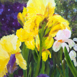 Chris Jehn: 'yellow and purple iris', 2017 Acrylic Painting, Floral. Artist Description: Bright purple and yellow iris. Up close...