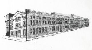 Christine Haehner Murdock Artwork Piquette Plant, 2005 Pen Drawing, Architecture