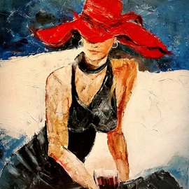 lady with the red hat By Christian Mihailescu