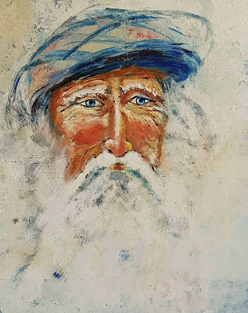 Christian Mihailescu  'Old Man With A Turban', created in 2019, Original Painting Acrylic.
