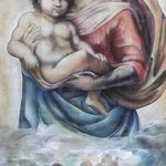 tribute to 500 year anniversary of the sistine madonna  By Christine Dumbsky