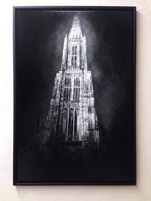 Christian Klute: 'Cathedral of Ulm', 2016 Oil Painting, Urban. Artist Description: Ulmer MA1/4nster | Oil on Canvas | 60x90cmFramed in black floater frame | cathedral ulm black and white monochrome buildings urban landscape dark mysterious gothic ornaments imressionistic lose painting scratches realism black dark atmosphere churches cathedrals religious ...
