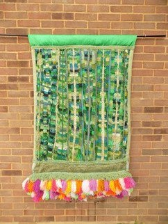 Christine Cunningham: 'spring garden', 2017 Textile Art, Abstract. Artist Description: Abstract creation exploring a Spring garden. Layered panels were created using offcuts in a rich colour palette of greens and blues, overlaid with additional roughly cut lengths to create additional volume. A large pompom fringe in a colour palette of spring flowers adorns the garden with a panel ...