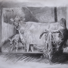 Christo Wolmarans Artwork The Proud Mother, 2010 Charcoal Drawing, Interior