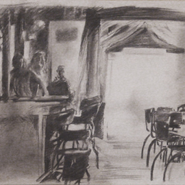 Christo Wolmarans Artwork The Public House, 2010 Charcoal Drawing, Interior
