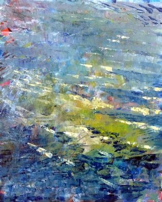 Chris Walker: 'Lily Pond', 2014 Oil Painting, Atmosphere. Artist Description: 202 - LilyPond	abstract mannque. all the action is outside the image, reflections of trees, lilies , sky	...