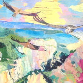 Chris Walker: 'Vultures over the Gorge', 2014 Oil Painting, Body. Artist Description:  228- Vultures over the Gorge		 ( 50cm x 61cm) 2. 5. 1. 3Griffon Vultures soaring over the Gorges of the Verdon.	Essence of Mountain, lake and lavender.  carved out of the Valensole plain.  ...