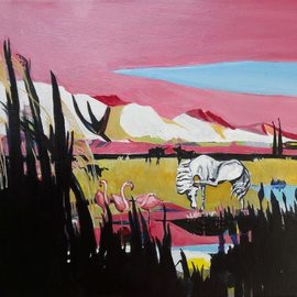 Chris Walker: 'the alpilles from crau', 2019 Oil Painting, Conceptual. Artist Description: Oil on stretched canvas  35cm x27cmx 1. 7cm Carmargue bulls, white horses , flamingoes, reeds, rushes and stark stony hills. ...