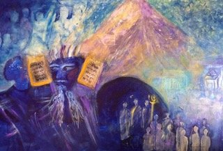 Cindy Kornet: 'ten commandments', 2018 Acrylic Painting, Biblical. Artist Description: Moses, Ten Commandments, Mt Sinai...