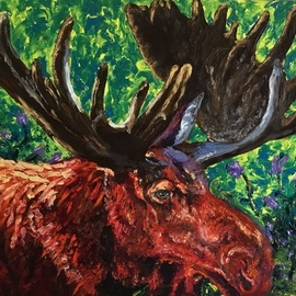 Cindy Pinnock: 'Moose', 2017 Oil Painting, Wildlife. Artist Description: Bull Moose, Moose, wildlife art, Moose portrait, nature, trophy antlers, wildlife, western, original, oil, painting, contemporary, Teton, moose, hunting...
